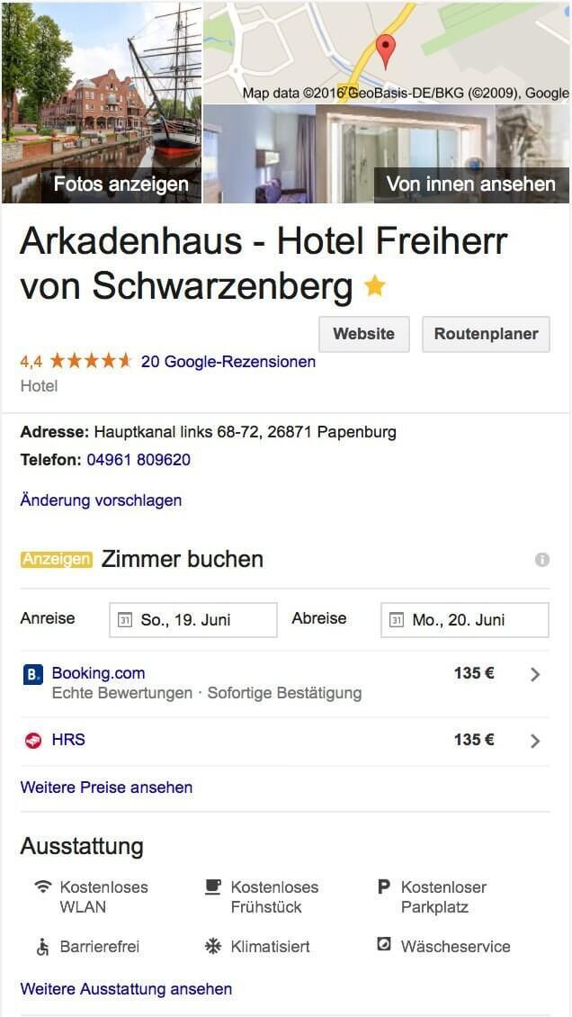 Google My Business für Hotels
