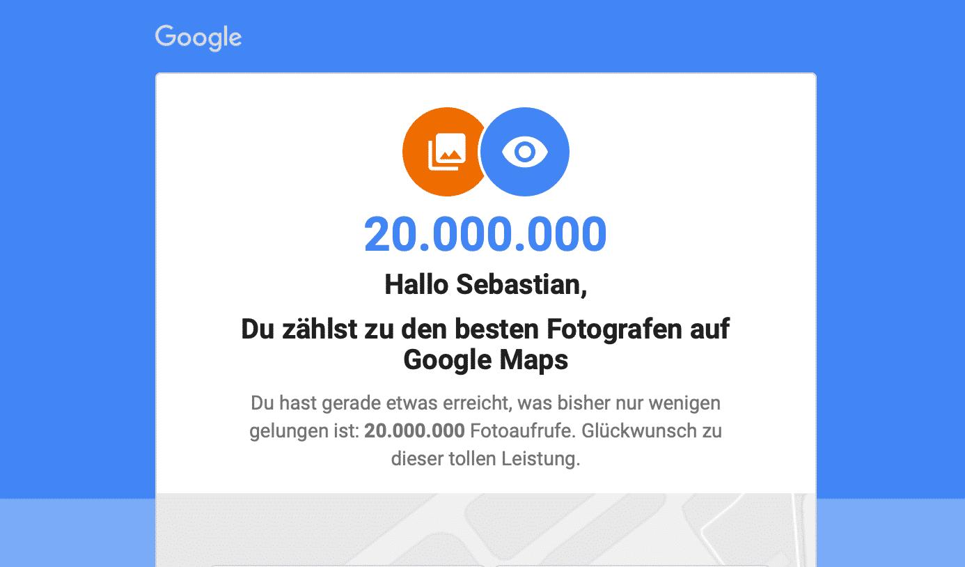 20.000.000 Fotoaufrufe auf Google Maps